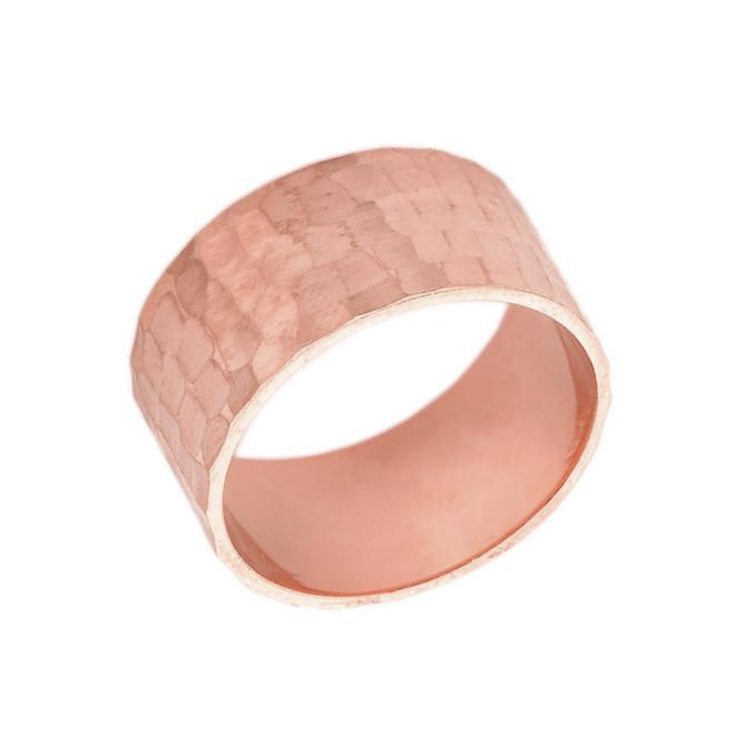 Solid Rose Gold Hammered 10 Millimeter Wedding Band