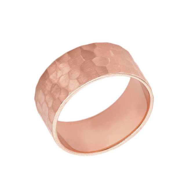 Solid Rose Gold Hammered 9 Millimeter Wedding Band