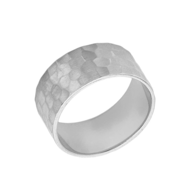 Solid White Gold Hammered 9 Millimeter Wedding Band