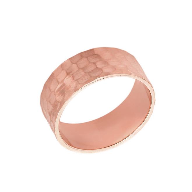 Solid Rose Gold Hammered 8 Millimeter Wedding Band