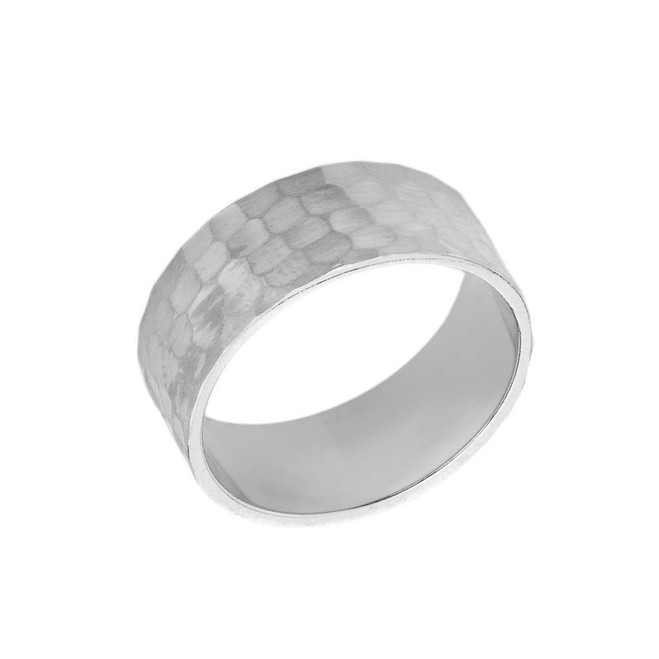 Solid White Gold Hammered 8 Millimeter Wedding Band