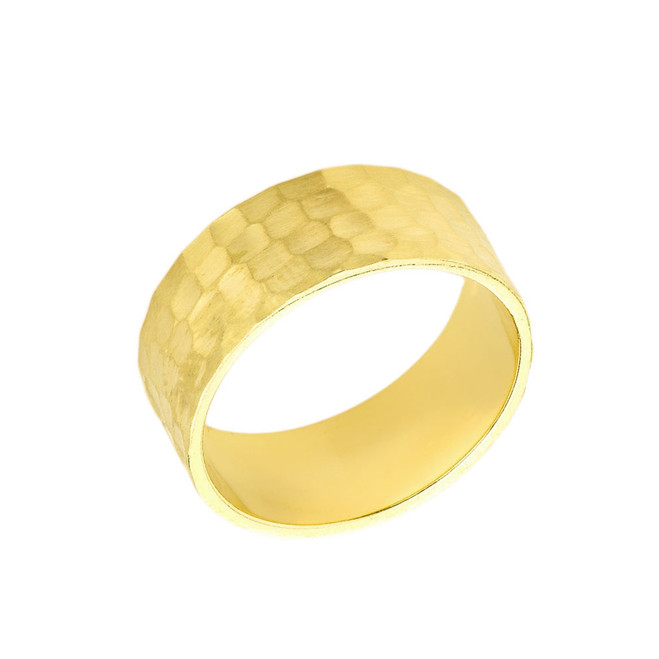 Solid Yellow Gold Hammered 7 Millimeter Wedding Band