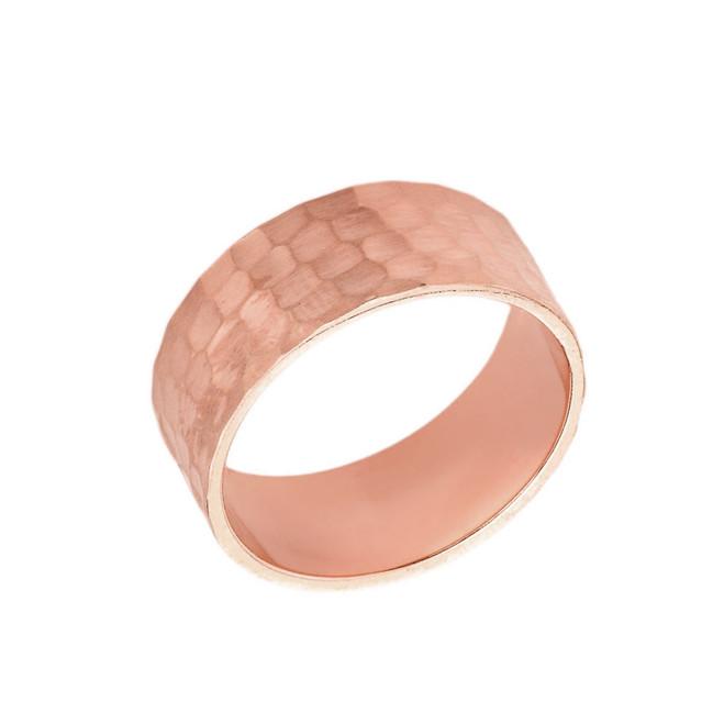 Solid Rose Gold Hammered 7 Millimeter Wedding Band