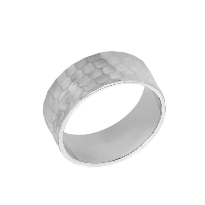 Solid White Gold Hammered 7 Millimeter Wedding Band