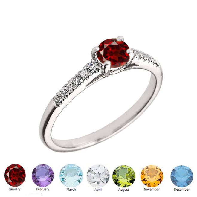 Genuine Diamond and Round Shape Personalized Genuine Birthstone Ring in Sterling Silver