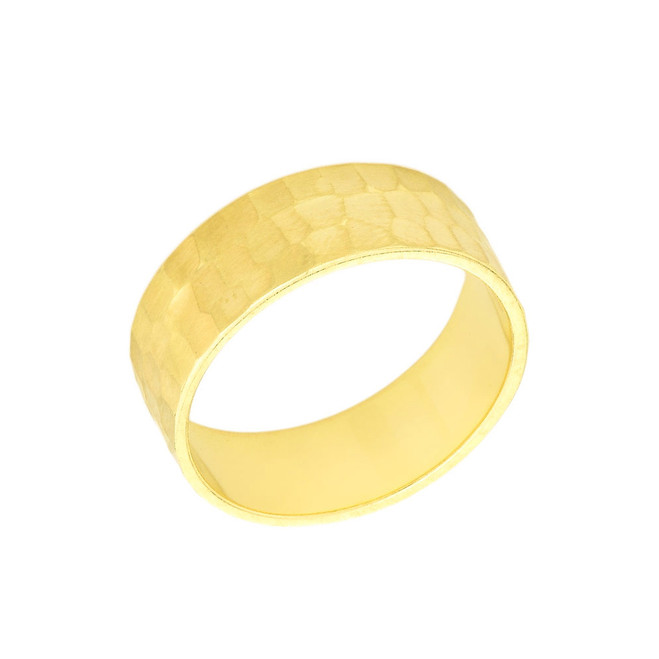 Solid Yellow Gold Hammered 6 Millimeter Wedding Band