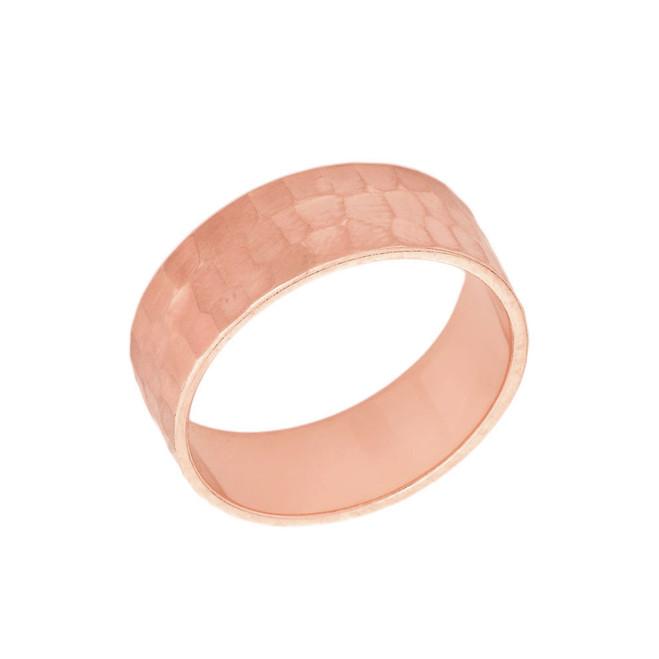 Solid Rose Gold Hammered 6 Millimeter Wedding Band