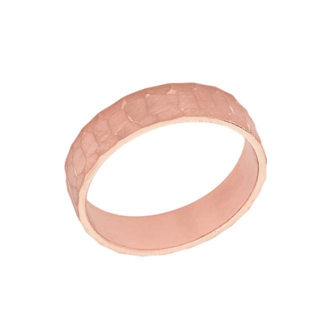Solid Rose Gold Hammered 5 Millimeter Wedding Band
