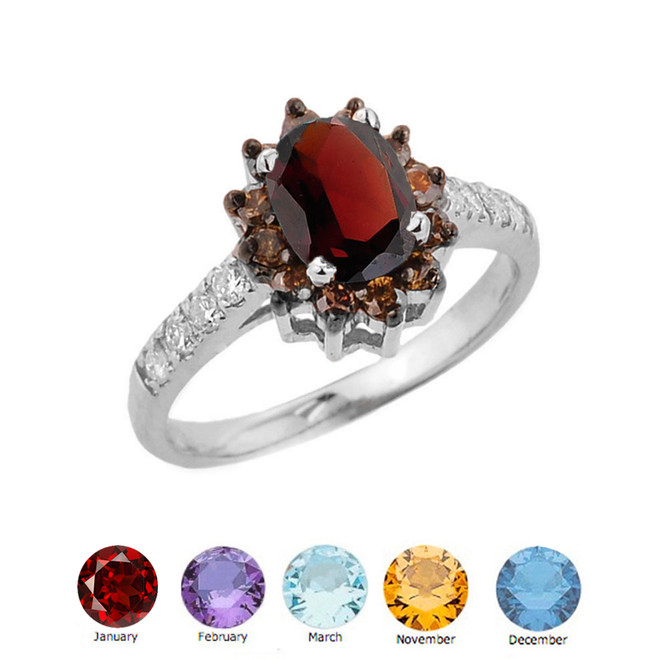 Coffee Genuine Diamond and Personalized Genuine Birthstone Ring In Sterling Silver