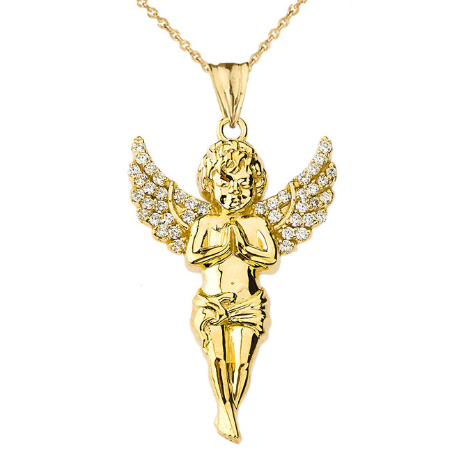 Diamond Angel Pendant Necklace in Yellow Gold