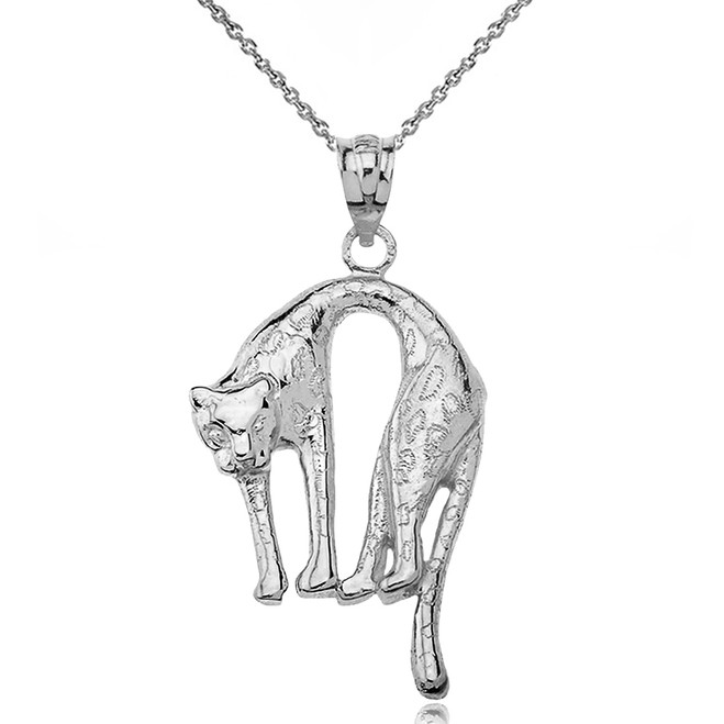 Solid White Gold Arched Cheetah Pendant Necklace