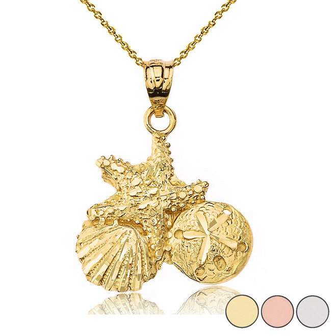 Sparkle Cut Starfish Clam and Sand Dollar Pendant Necklace in Gold (Yellow/Rose/White)