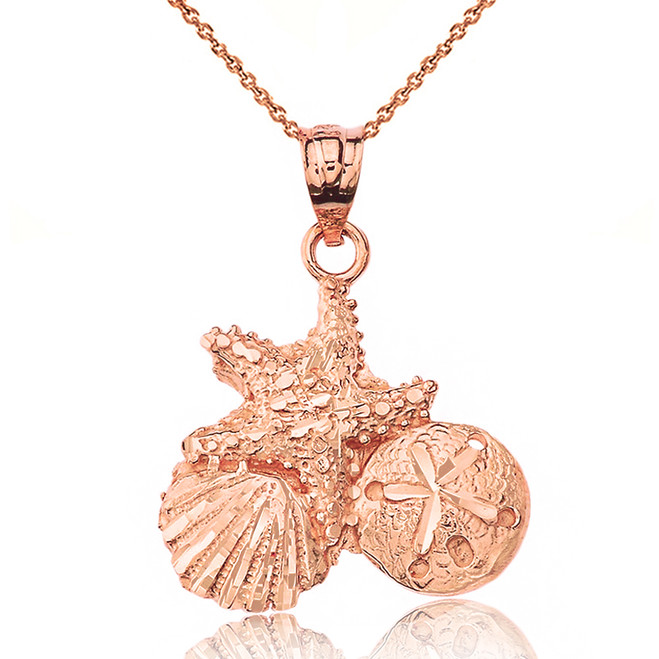 Solid Rose Gold Sparkle Cut Starfish Clam and Sand Dollar Pendant Necklace