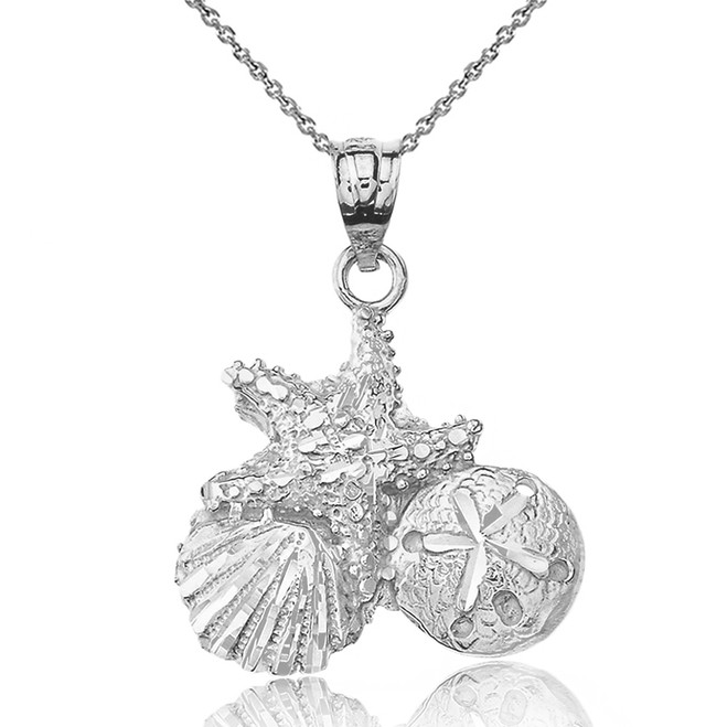 Solid White Gold Sparkle Cut Starfish Clam and Sand Dollar Pendant Necklace