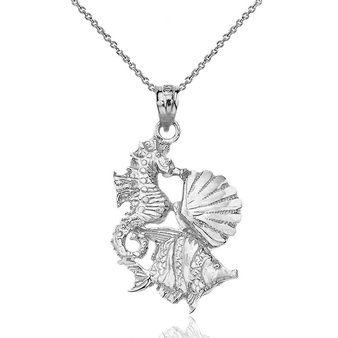 Sterling Silver Seahorse Clam and Fish Pendant Necklace