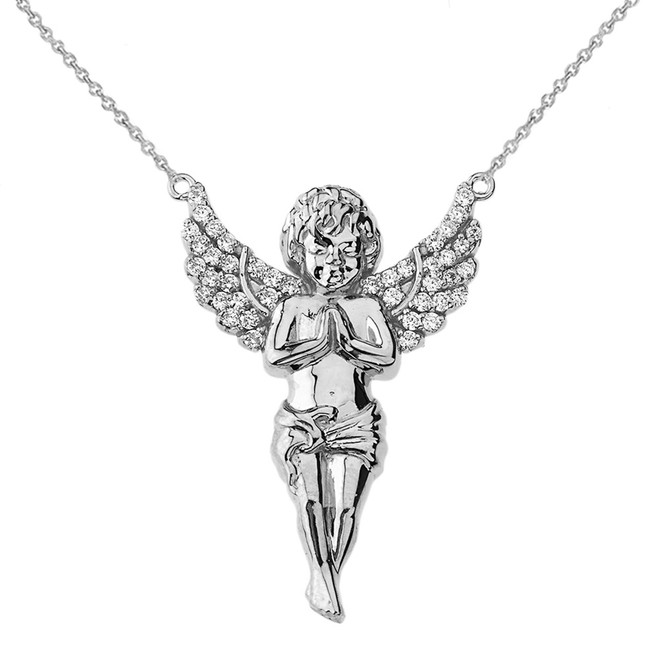 14K Diamond Angel Necklace in White Gold