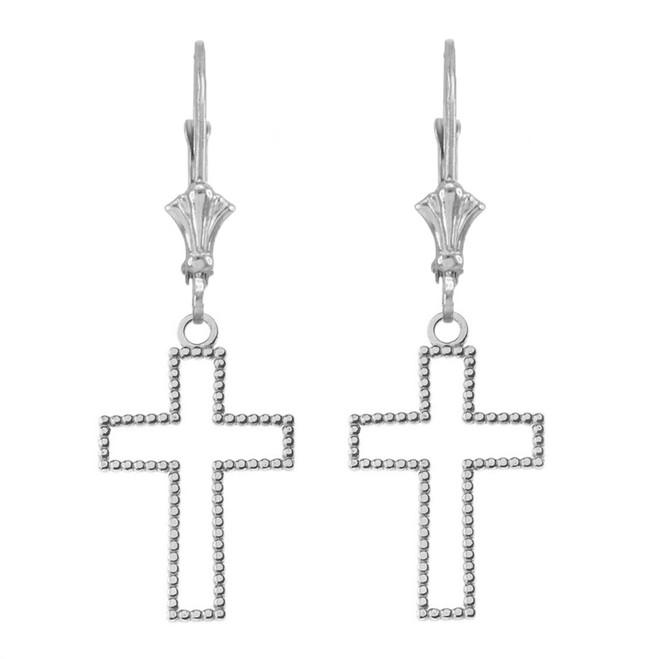 14K Two Sided Beaded Open Cross Earrings in White Gold