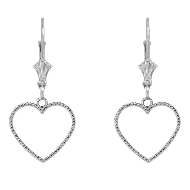14K Two Sided Beaded Open Heart Earrings in White Gold