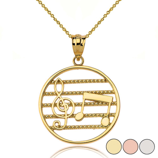 Music Notes Circle Pendant Necklace in Gold (Yellow/Rose/White)