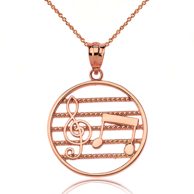 Solid Rose Gold Music Notes Circle Pendant Necklace