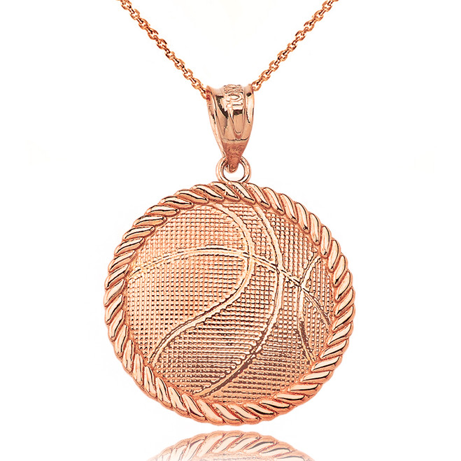 Basketball Pendant Necklace in Rose Gold