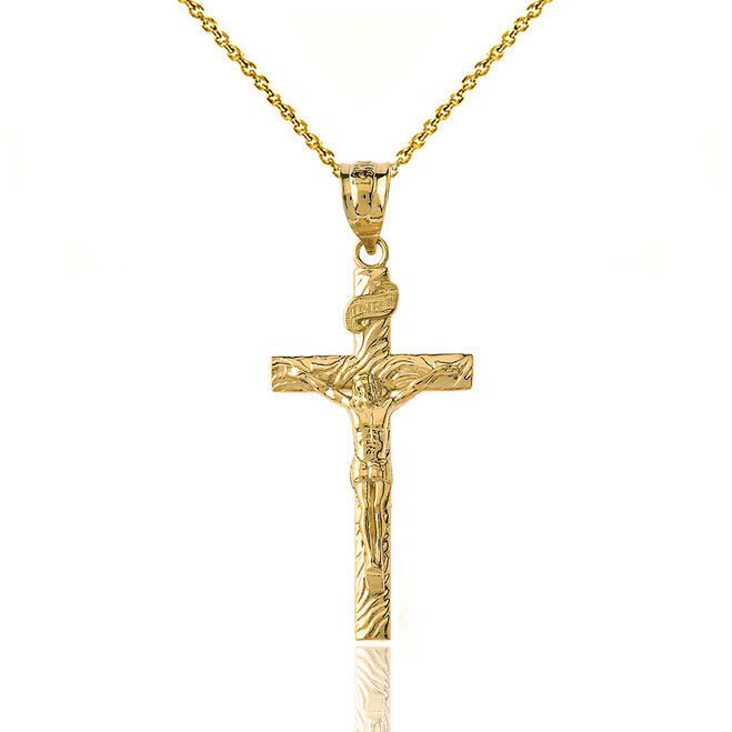 Solid Yellow Gold INRI Jesus of Nazareth Crucifix with Wooden Texture Pendant Necklace (Medium)