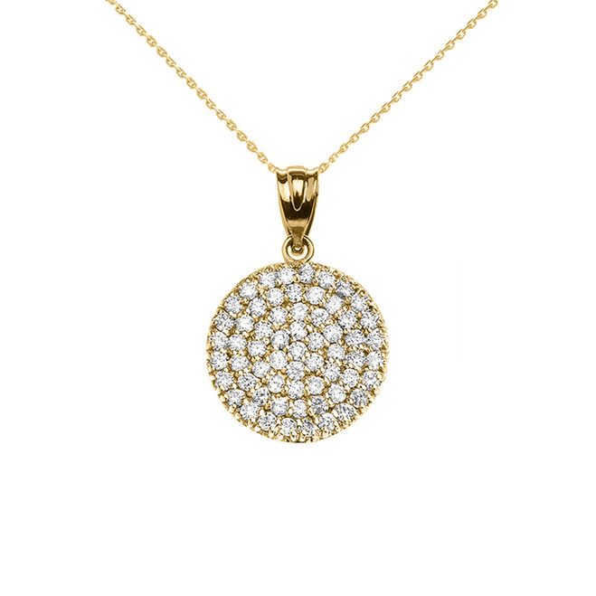 Micro-Pave Cubic Zirconia Circle Pendant Necklace in Yellow Gold