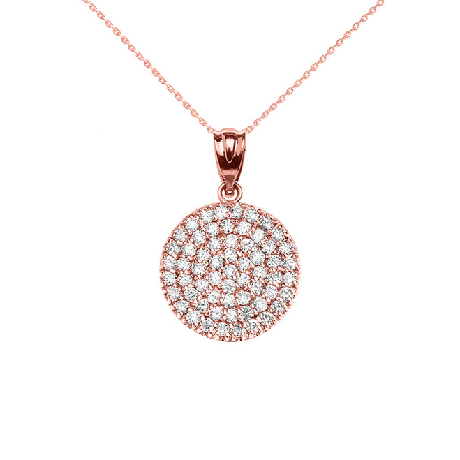 Micro-Pave Cubic Zirconia Circle Pendant Necklace in Rose Gold