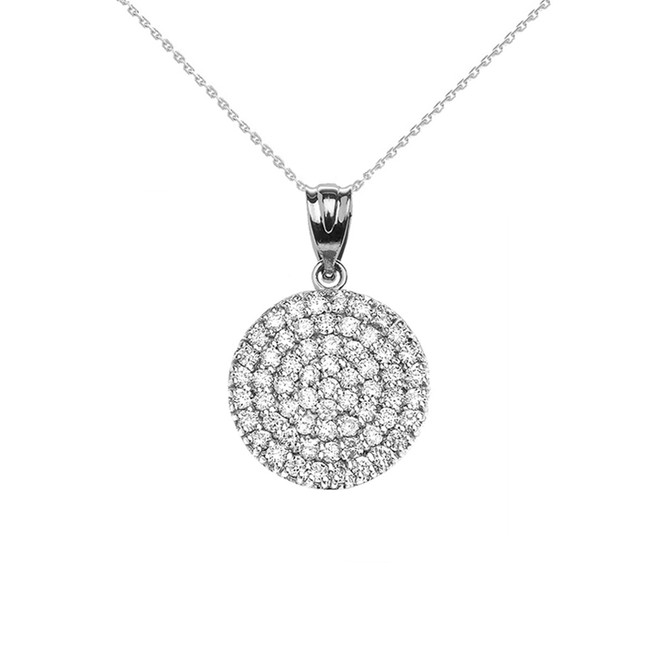 Micro-Pave Cubic Zirconia Circle Pendant Necklace in White Gold