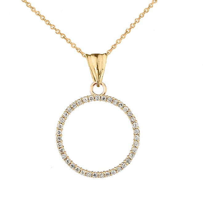 """Circle of Love"" Diamond Pendant Necklace in 14K Yellow Gold"