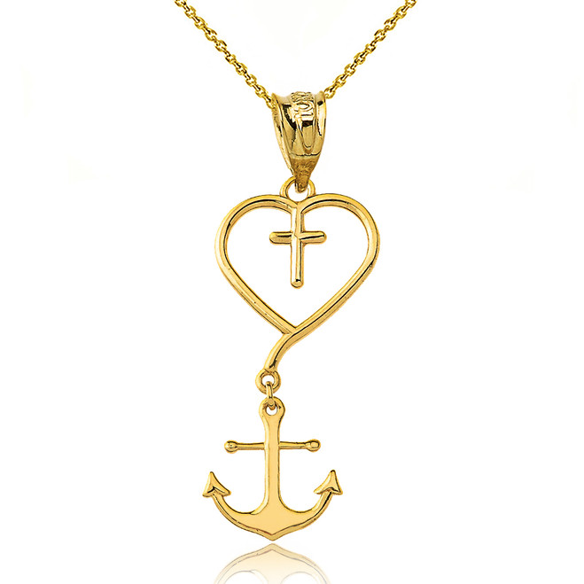 Jesus is the Anchor of My Soul Pendant Necklace in Yellow Gold