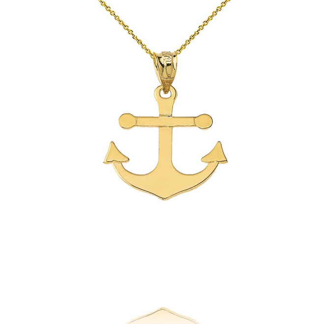 Dainty Sleek Anchor Pendant Necklace in Yellow Gold