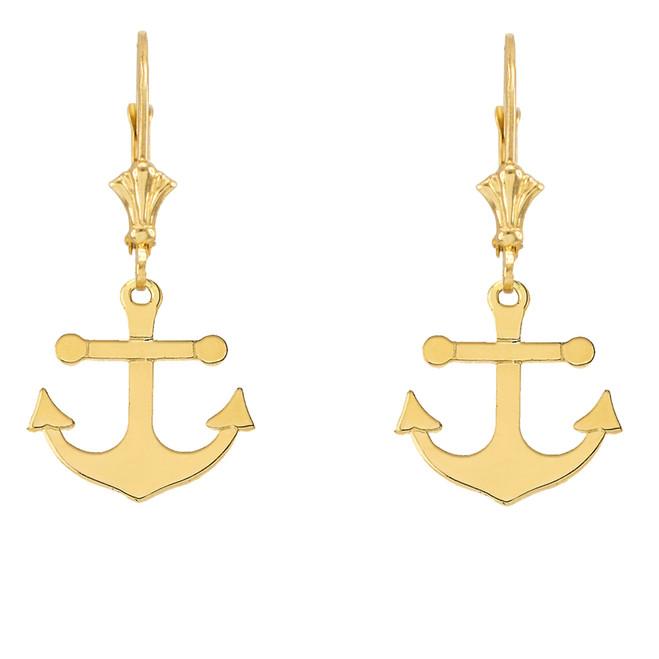 Dainty Sleek Anchor Earrings in Yellow Gold