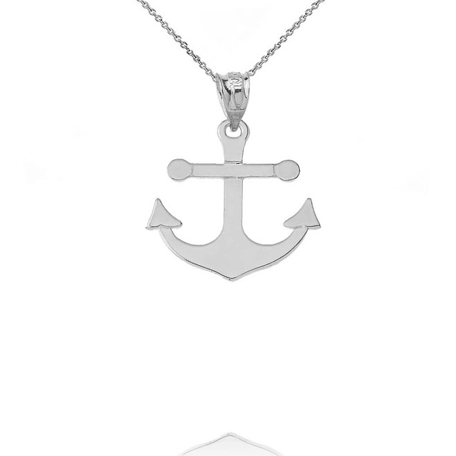 Dainty Sleek Anchor Pendant Necklace in White Gold