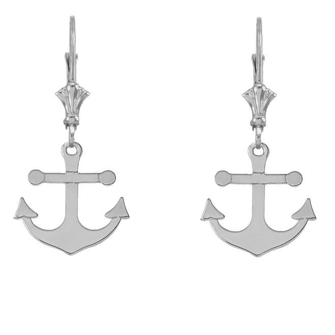 Dainty Sleek Anchor Earrings in Sterling Silver