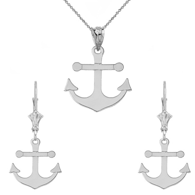 Dainty Sleek Anchor Pendant Necklace Set in 14K White Gold