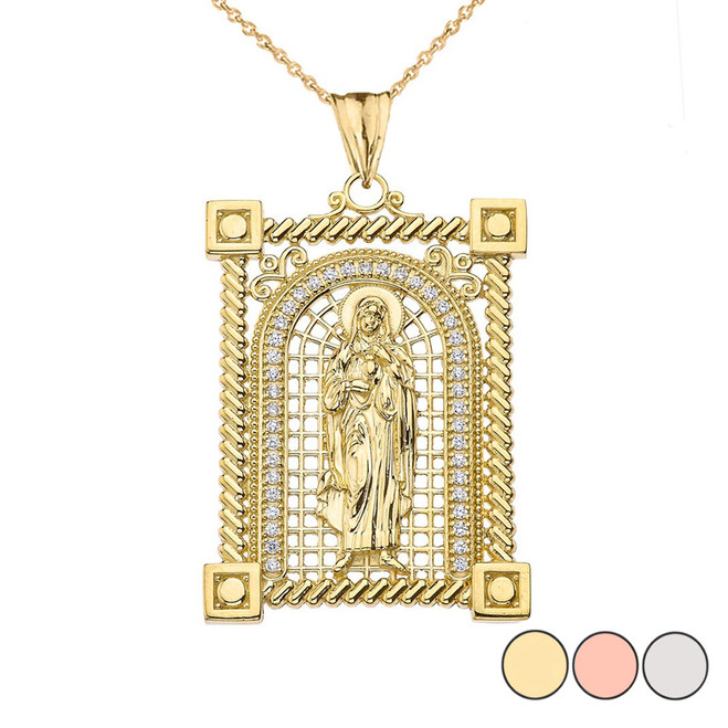 Diamond Saint Mary Pendant Necklace in Gold (Yellow/Rose/White)