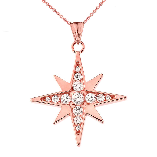 Cubic Zirconia North Star Pendant Necklace in Rose Gold