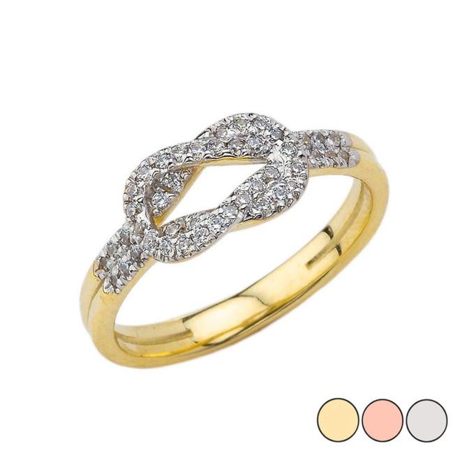 Diamond Hercules Love Knot Ring in Gold (Yellow/Rose/White)