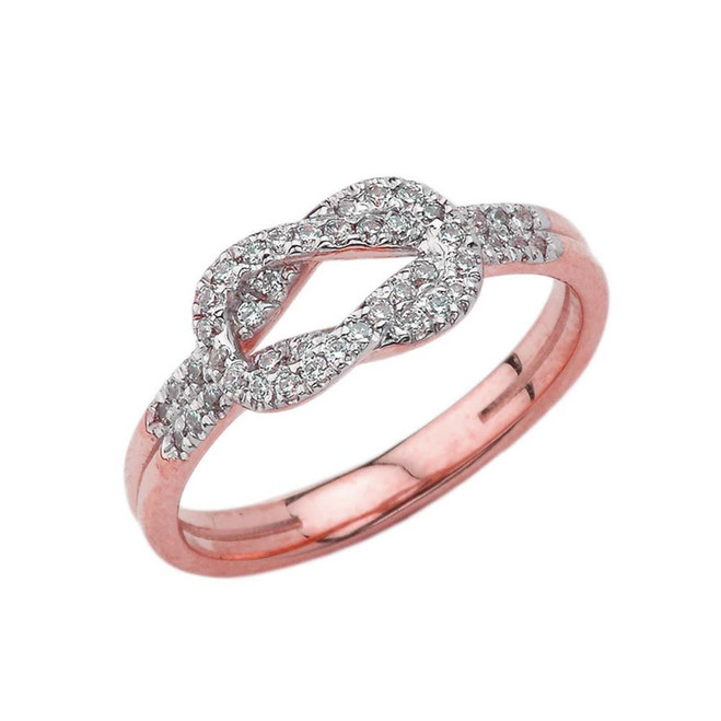 Cubic Zirconia Hercules Love Knot Ring in Rose Gold
