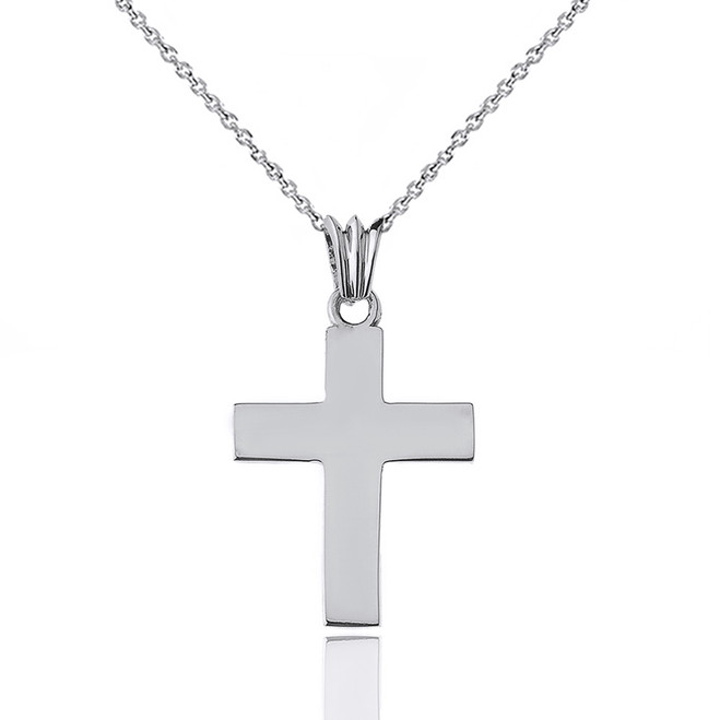 "Solid Cross in White Gold (1.3"")"