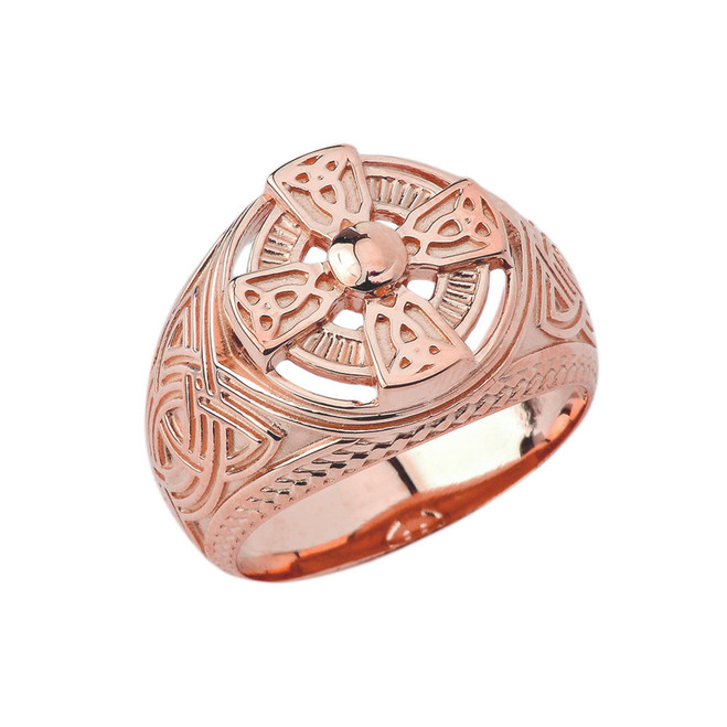 Mens Celtic Trinity Knot Ring in Rose Gold