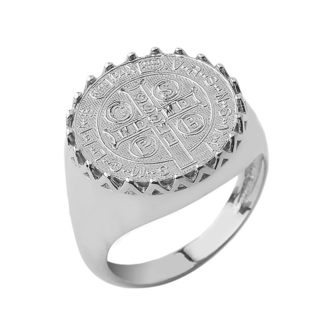 St. Benedict Statement Ring in White Gold