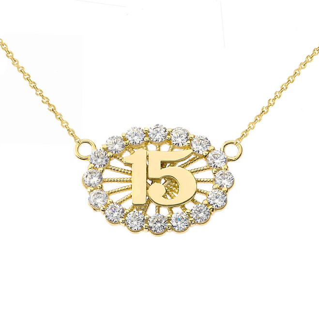 15 Quinceañera Necklace in 14K Yellow Gold