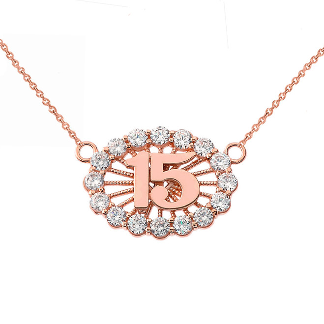 15 Quinceañera Necklace in 14K Rose Gold