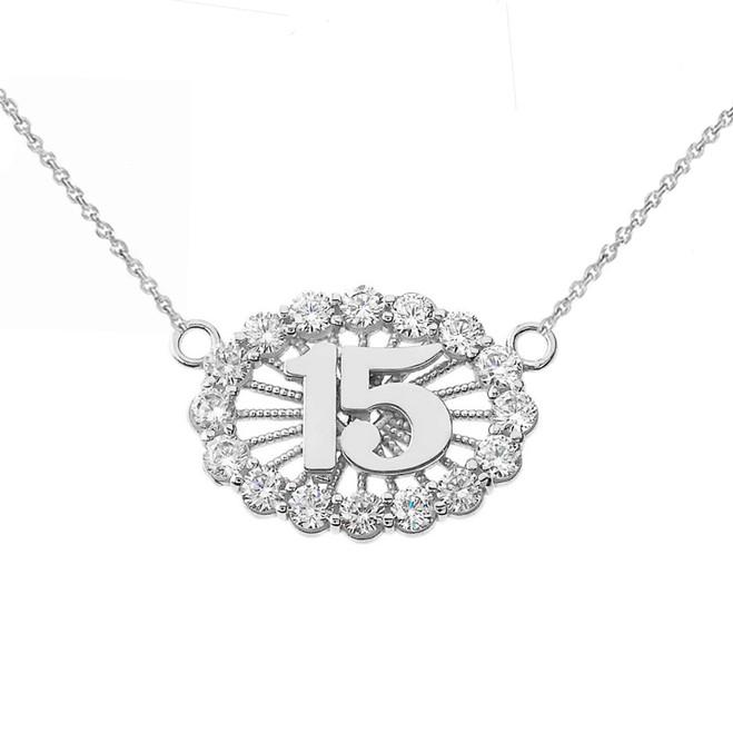15 Quinceañera Necklace in 14K White Gold