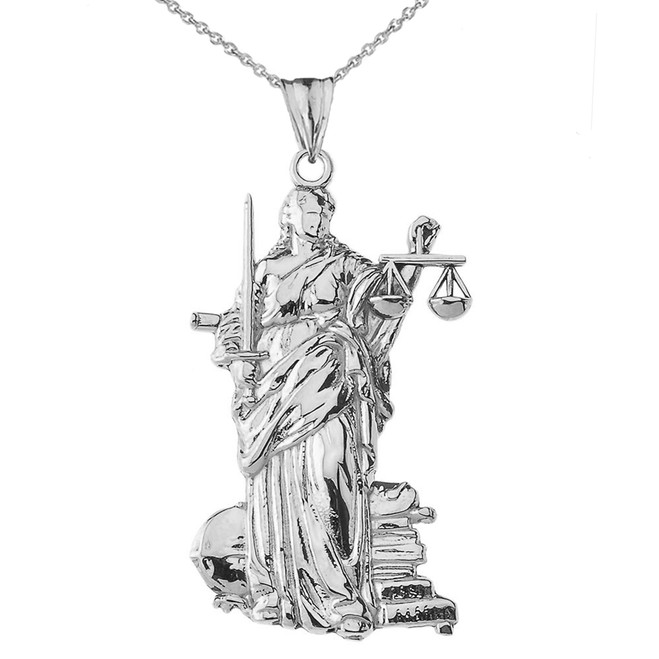 Lady Justice Pendant Necklace in White Gold