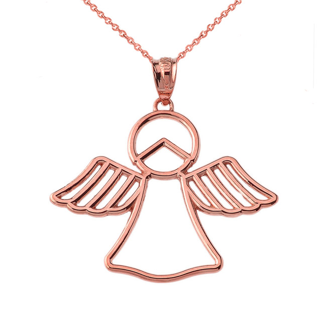 Openwork Angle Pendant Necklace in Rose Gold