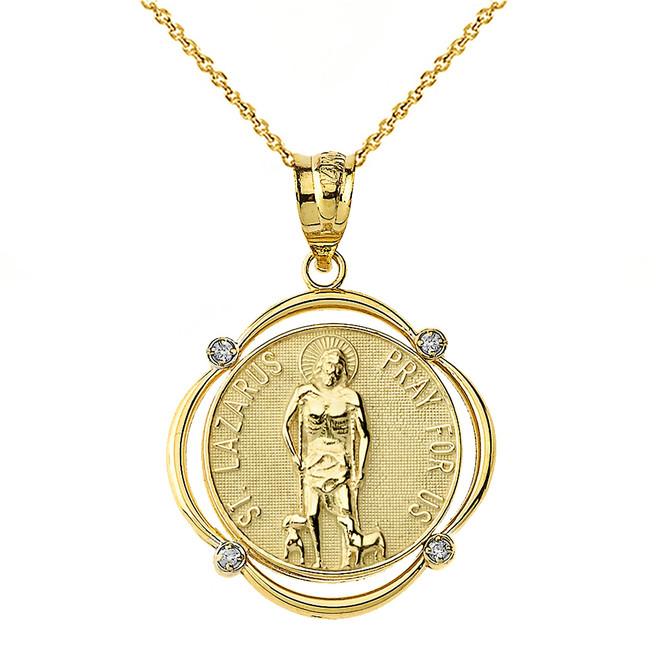 Solid Yellow Gold Saint Lazarus Pray For Us Diamond Circular Frame Pendant Necklace