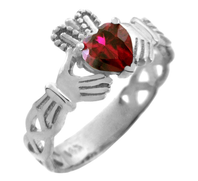 Silver Claddagh Trinity Band with Garnet Red CZ Heart